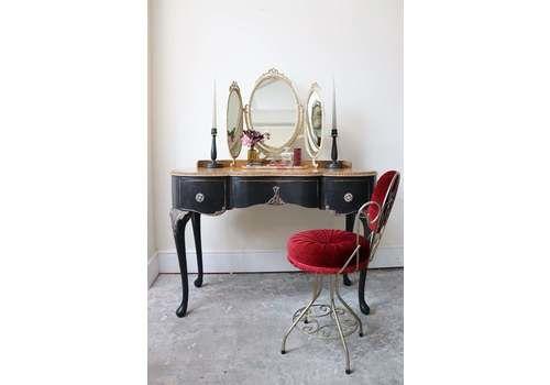Striking Black Painted Vintage Kidney Shaped Walnut Dressing Table