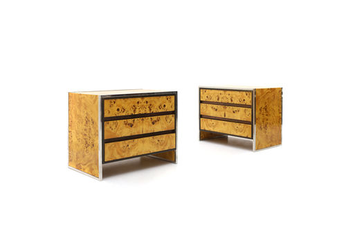 Pair Of Briar Bedside Tables With 3 Drawers, 1970's