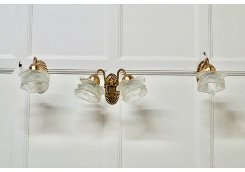 Brass Wall Light Set With Flower Shades, 1 Double And 2 Single Lights