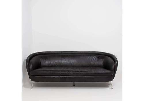 Italian Style Black Leather Sofa, 1960s