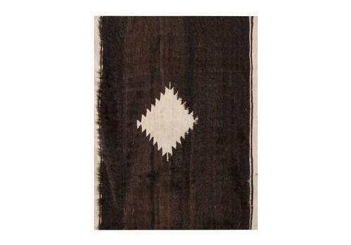 "1970s Vintage Goat Hair Turkish Kilim Blanket Rug 4'2"" X 4'10"""
