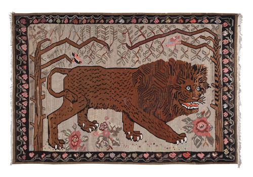"Vintage Anatolian Gabbeh Lion Kilim Rug 6'5"" X 9'6"""