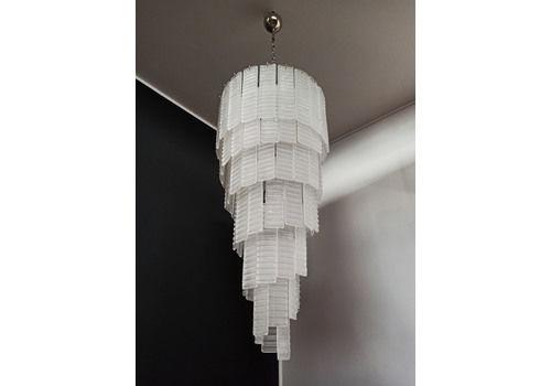 Elegant Murano Spiral Chandelier 83 Frosted Glasses