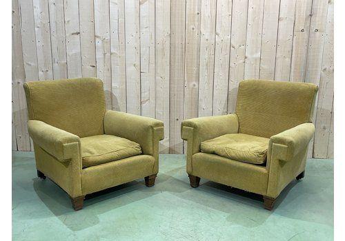 Napoleon III Style Green Velvet Armchairs, 1930s, Set Of 2