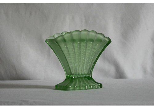 Art Deco Scallop Vase With Floral Frog