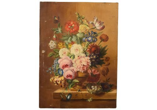 Still Life With Flowers In The Taste Of The 17th Butterfly And Flowers