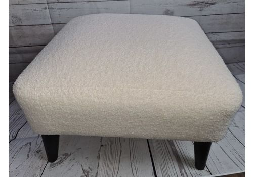Exclusive Designer  Mid Century Inspired Footstool Newly Upholstered In Trendy Crisp White Boucle Chic Soft Luxurious Fabric
