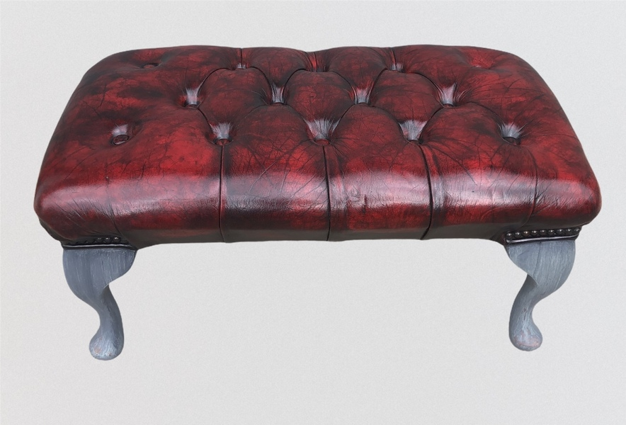Stunning Vintage Chesterfield Style Footstool / Leather Stool photo for sale