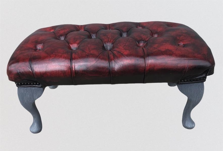Stunning Vintage Chesterfield Style Footstool / Leather Stool photo Furniture