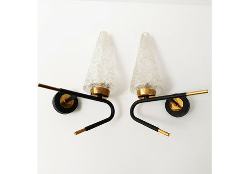 Pair Of 1950 VI Ntage Wall Lights Of Brass Steel & Glass By Maison Arlus