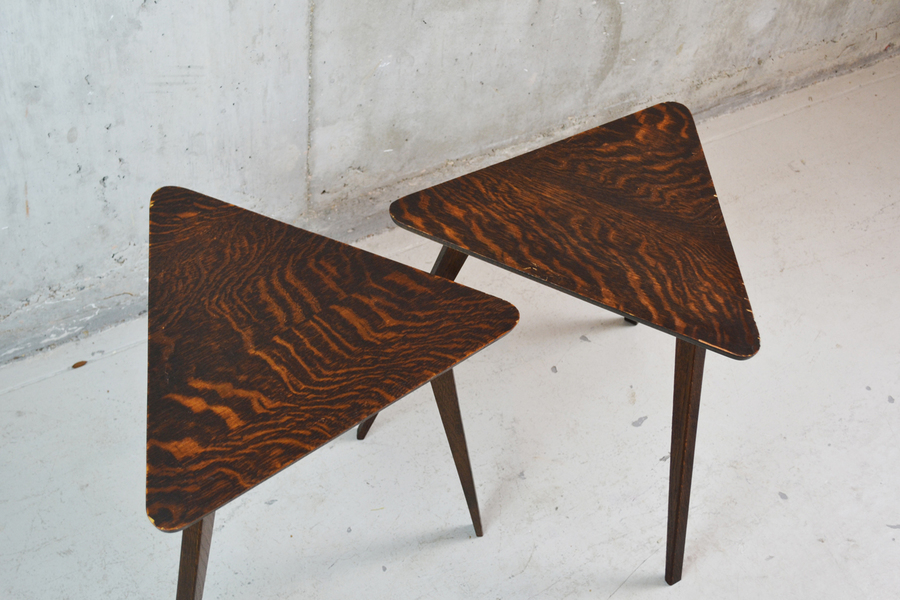 Pair Of 1950's Triangular Small Side Tables By Druce & C0 Of Baker Street London