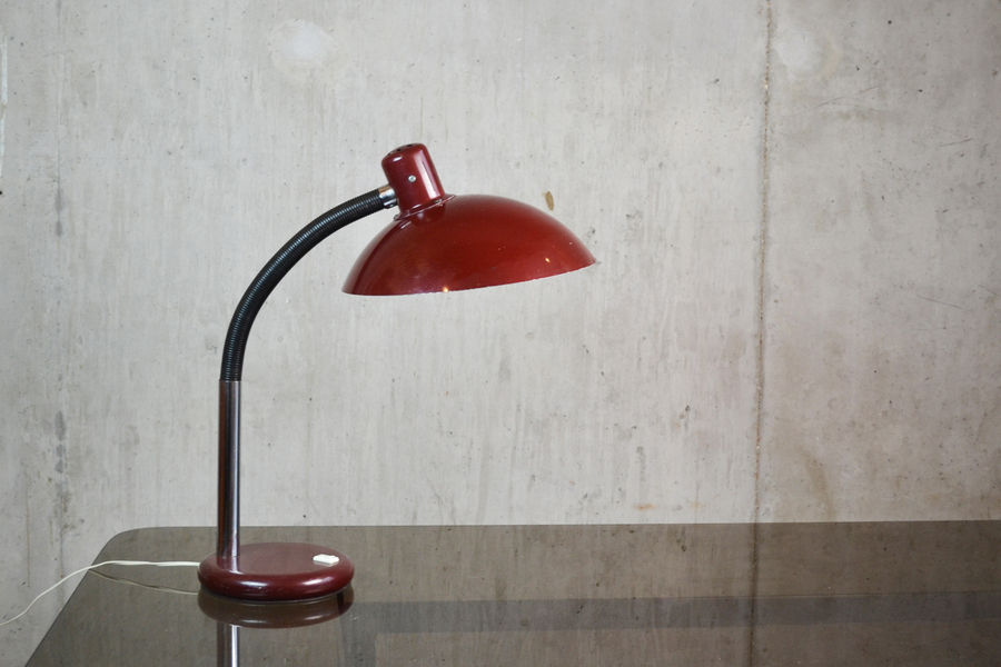 1970's Mid Century Belgian Red Metal Desk Lamp With Adjustable Neck