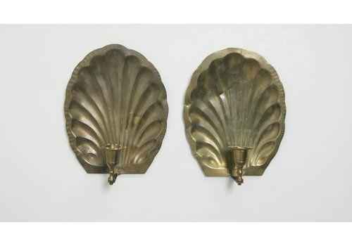 Mid Century Brass Shell Candleholders, Set Of 2
