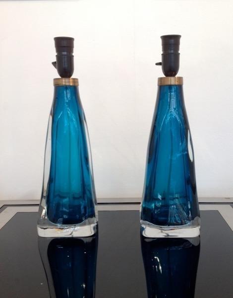 Pair Of Orrefors Glass Lamps