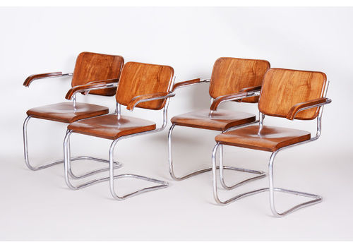 Set Of 4 Walnut And Chrome Plated Steel Chairs