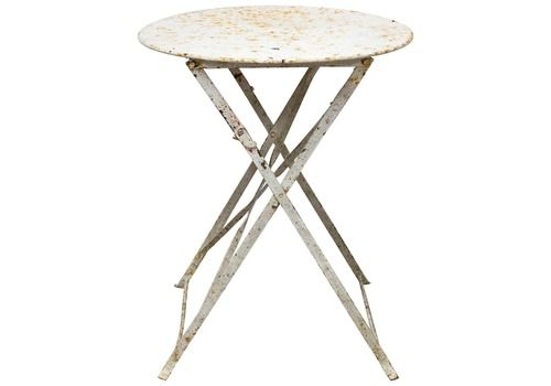 Round Folding Table Patio Garden Bistro Cafe Metal Vintage, French, Circa 1930