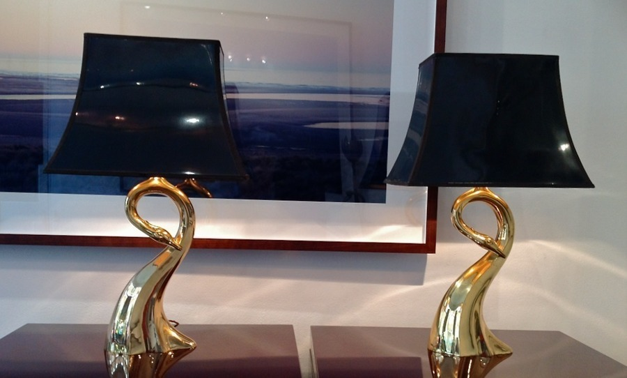 Pair Of Brass Egret Table Lamps