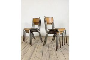 Thumb set of 6 vintage industrial stacking chairs 0
