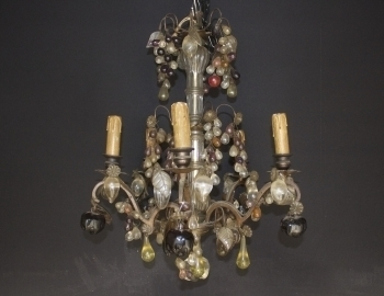19th Century Chandelier With Glass Fruits photo 1