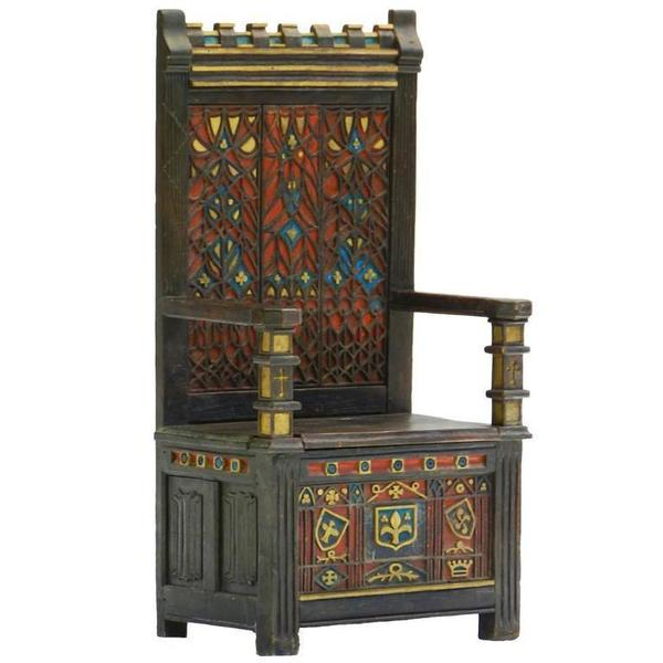 Arts And Crafts Throne Chair Polychrome Monks Bench Settle Ottoman Gothic Revival
