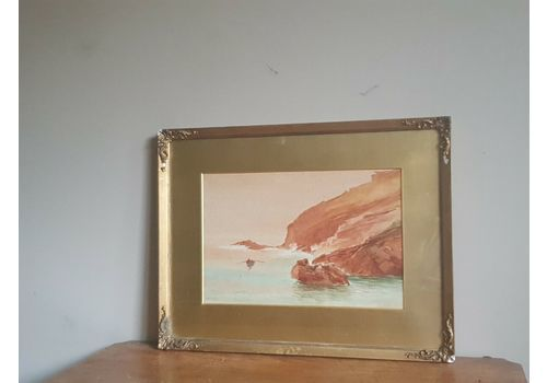 Antique Victorian Signed Seascape Watercolour In Gilt Frame