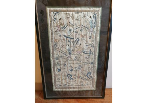Antique Oriental Embroidery Framed Pair Of Kimono Sleeve Panels