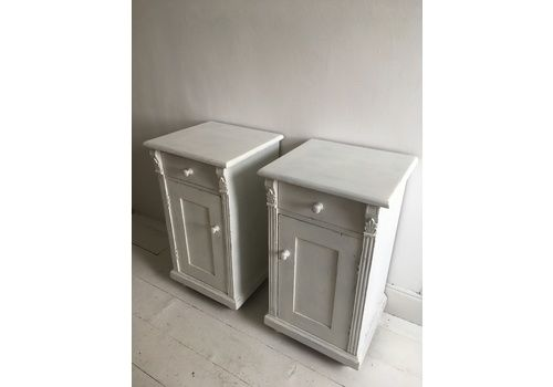 Pair Of Painted/Distressed Continental Bedside Cupboards