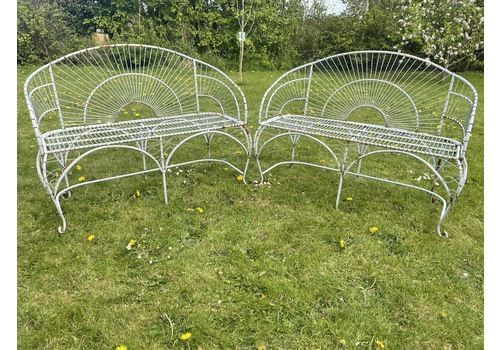 Pair Beautiful Art Deco Style Peacock Garden Curved 2 Seater Benches