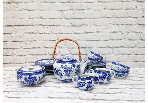 Japanese Tea Set With Pot Warmer + Cups Saucers Side Plates Vintage Tokusei Signed Porcelain Chinoiserie