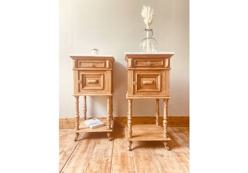 French Antique Oak Bedside Tables / Bedside Cabinets / Nighstands With Marble