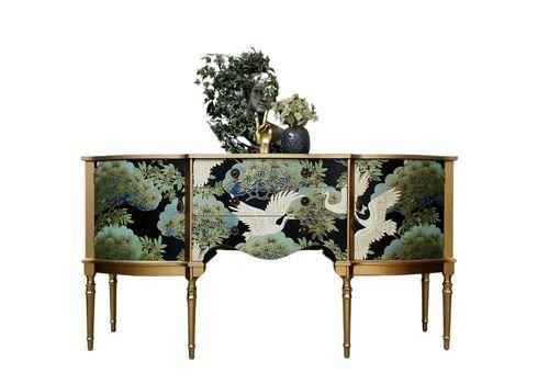 Stunning Professionally Upcycled Vintage Sideboard Tv Unit Oriental Decoupage