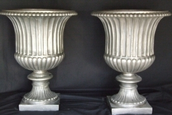 Late 19th Century Polished Steel Urns