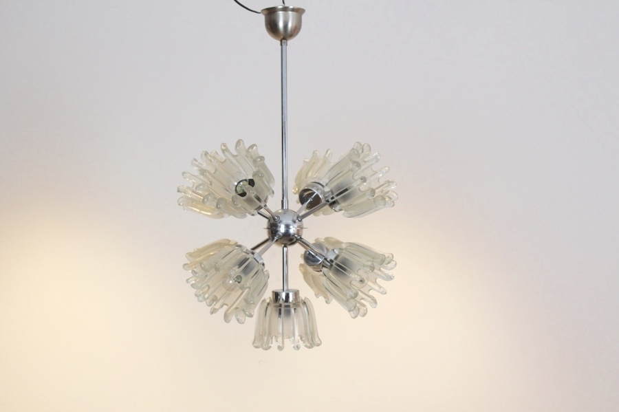 Mid Century Chrome And Frosted Tulip Glass Chandelier By Doria