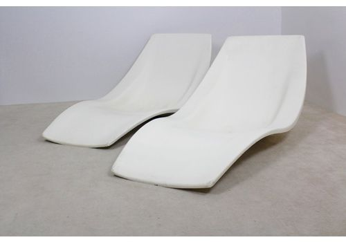 French Polyester Patio Or Pool Side Chaise Longues, 1960s, Set Of 2