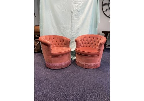 Barrel Back Boudoir Chairs In Coral Pink