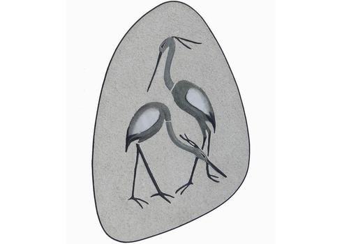 Mid Century Art Wall Plaque Crane Birds German Drosselbach