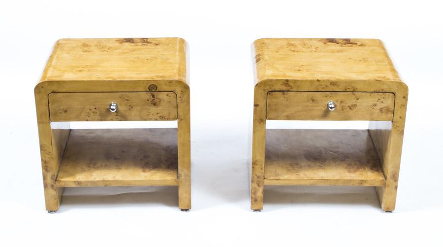 Pair Of Art Deco Style Birdseye Maple Bedside Cabinets photo 1