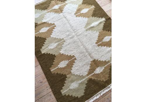 Vintage Swedish Rolakan Pure Wool Kelim Flatweave Rug