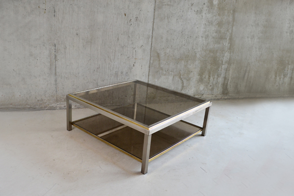 Large 1970's Belgian 2 Level Brass And Smoked Glass Coffee Table