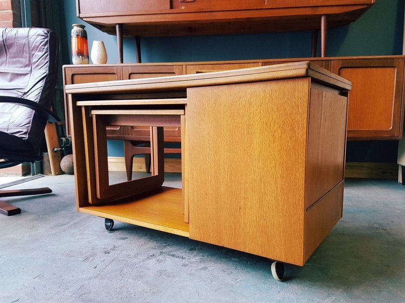 Mid Century Mc Intosh Tristor Flip Top Coffee Table Nest Storage