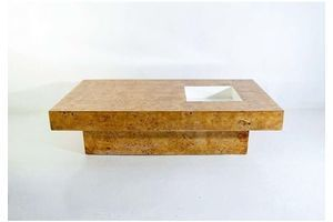 Thumb coffee table in burl wood in the manner of willy rizzo 0