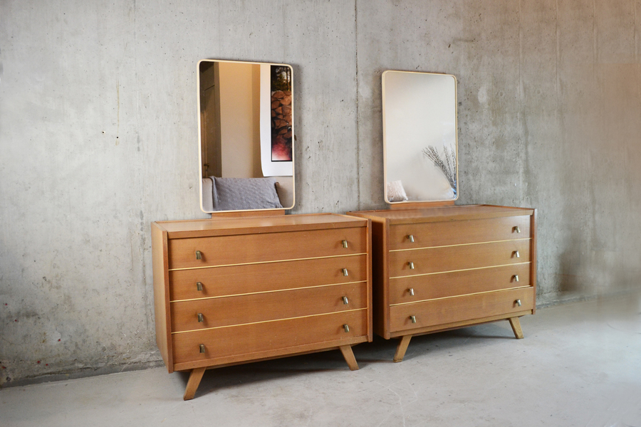 Pair Of Belgian 1970's Mid Century Chest Of Drawers With Mirrors