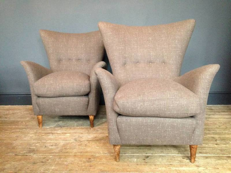 Pair Of Italian Wingback Armchairs