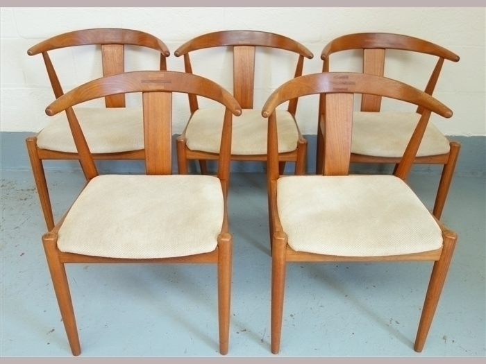 """Set Of Five Danish Dyrlund """"Horn"""" Dining Chairs photo 1"""