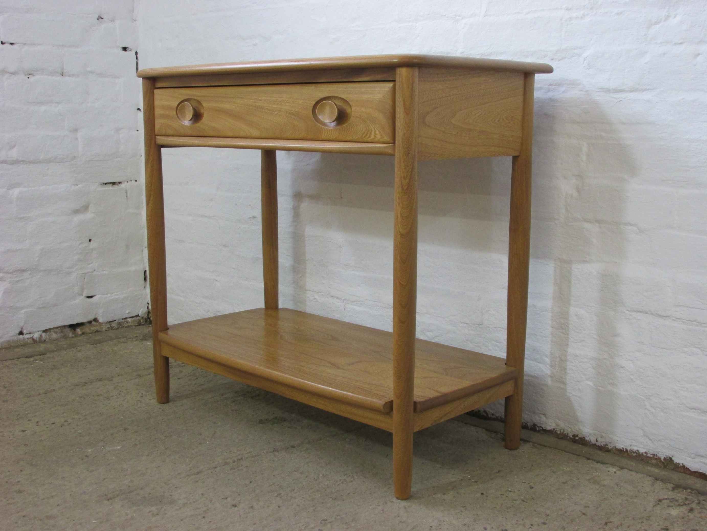 Ercol Windsor Light Finish Solid Ash Console Or Hall Table With Drawer And Shelf Ercol Vinterior