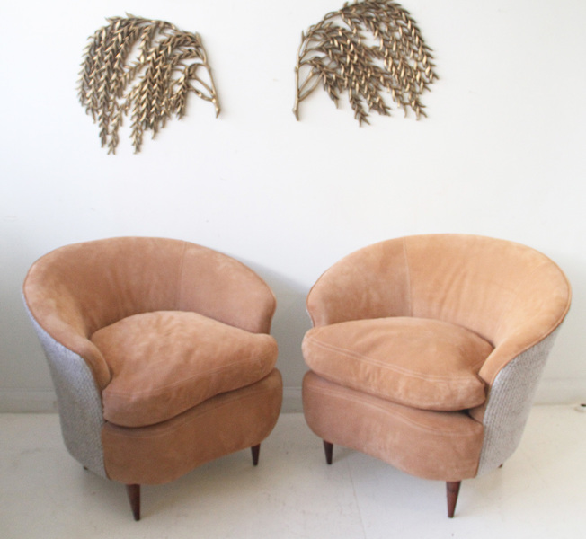 One Arm Chair, In The Manner Of Guglielmo Ulrich, Newly Upholstered In Peach Suede & Boucle. Italy, 1950s