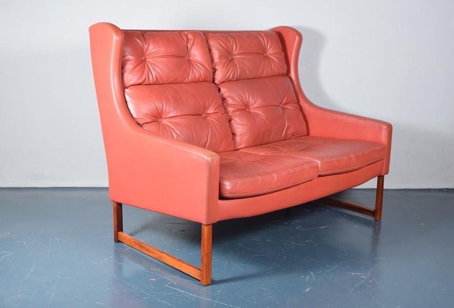 Rudolf B Glatzel For Kill International Red High Back Leather Sofa photo 1
