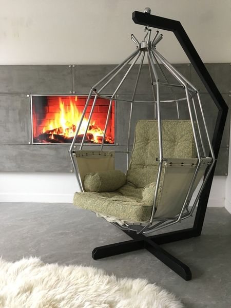 Vintage Retro Mid Century Design Egg Hanging Parrot Chair By Ib Arberg 1970s