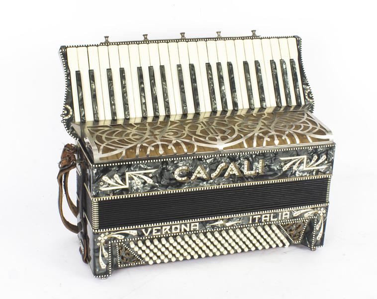 Vintage Italian Casali Italia Piano Accordion, With Grey Mother Of Pearl