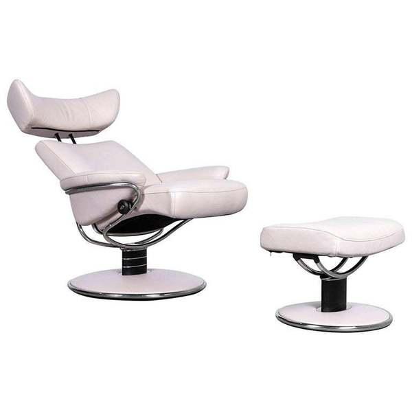 Pleasing Ekornes Stressless Jazz Armchair Set And Foot Stool In Beige Leather Recliner Creativecarmelina Interior Chair Design Creativecarmelinacom